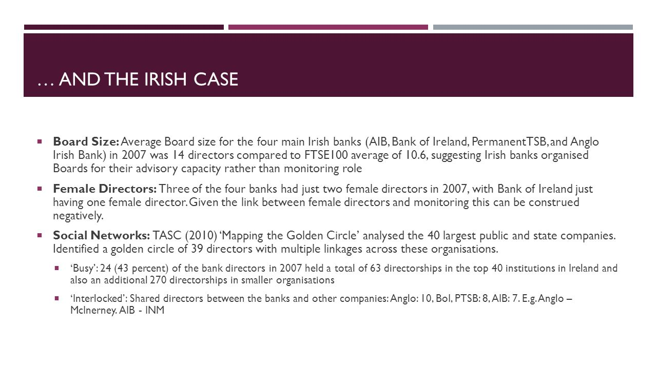 … AND THE IRISH CASE Board Size: Average Board size for the four main Irish banks (AIB, Bank of Ireland, PermanentTSB, and Anglo Irish Bank) in 2007 was 14 directors compared to FTSE100 average of 10.6, suggesting Irish banks organised Boards for their advisory capacity rather than monitoring role Female Directors: Three of the four banks had just two female directors in 2007, with Bank of Ireland just having one female director.