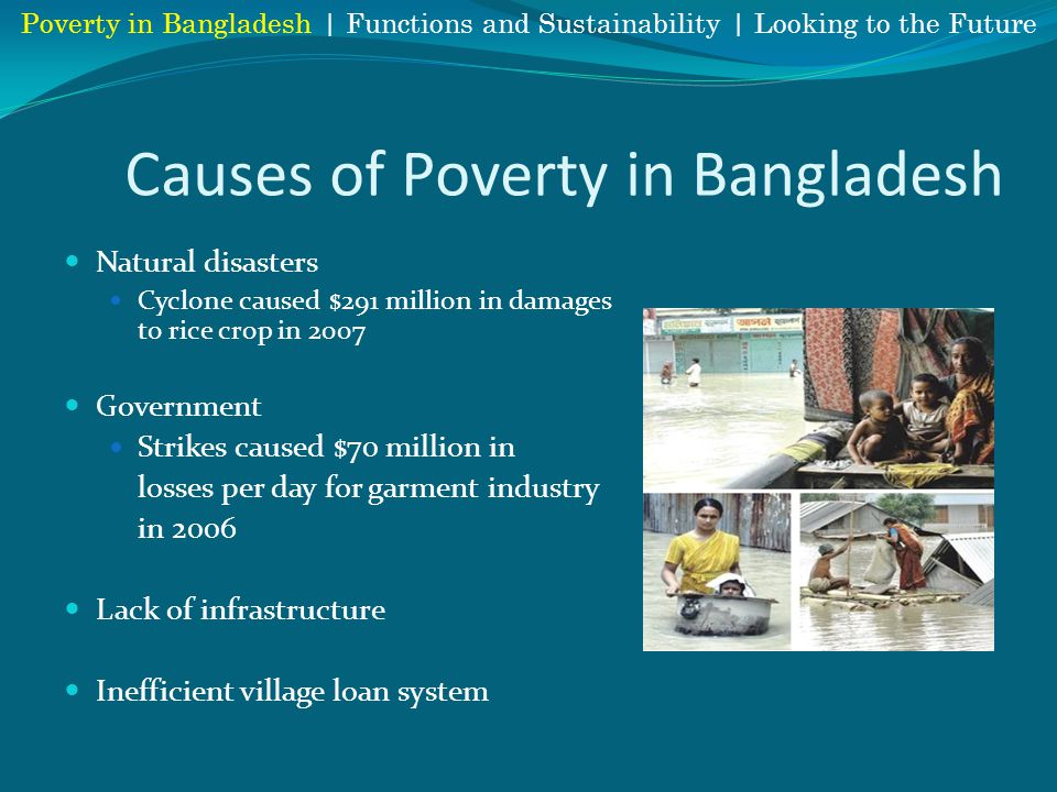Causes of Poverty in Bangladesh Natural disasters Cyclone caused $291 million in damages to rice crop in 2007 Government Strikes caused $70 million in losses per day for garment industry in 2006 Lack of infrastructure Inefficient village loan system Poverty in Bangladesh | Functions and Sustainability | Looking to the Future