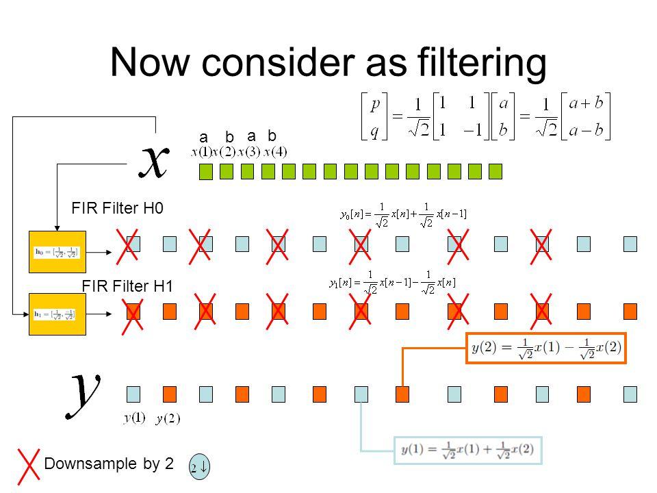 Now consider as filtering FIR Filter H0 FIR Filter H1 Downsample by 2 ba ab