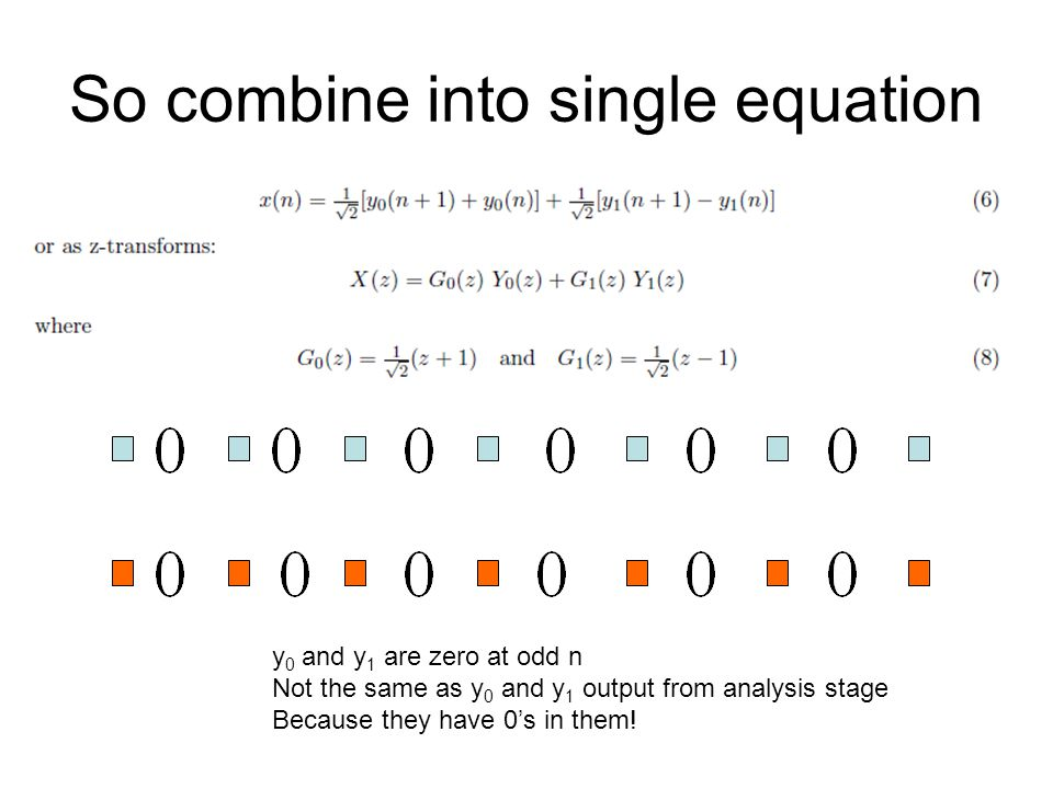 So combine into single equation y 0 and y 1 are zero at odd n Not the same as y 0 and y 1 output from analysis stage Because they have 0s in them!