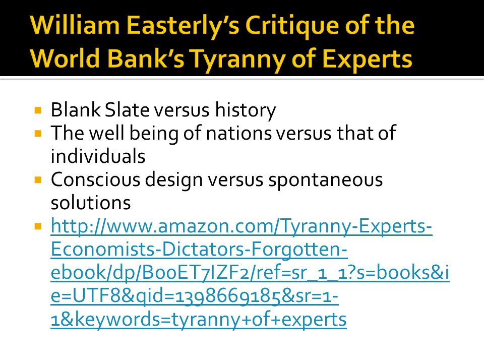 Blank Slate versus history The well being of nations versus that of individuals Conscious design versus spontaneous solutions http://www.amazon.com/Ty