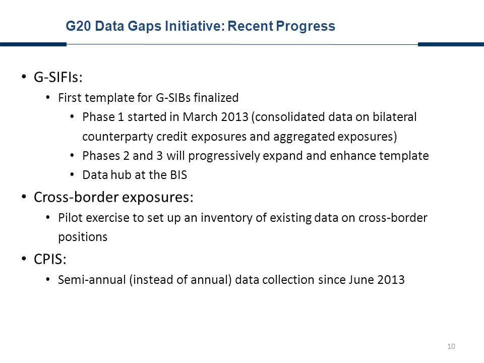 10 G20 Data Gaps Initiative: Recent Progress G-SIFIs: First template for G-SIBs finalized Phase 1 started in March 2013 (consolidated data on bilateral counterparty credit exposures and aggregated exposures) Phases 2 and 3 will progressively expand and enhance template Data hub at the BIS Cross-border exposures: Pilot exercise to set up an inventory of existing data on cross-border positions CPIS: Semi-annual (instead of annual) data collection since June 2013
