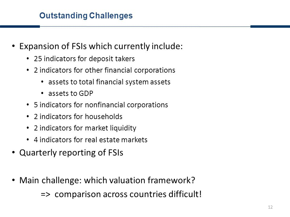 12 Outstanding Challenges Expansion of FSIs which currently include: 25 indicators for deposit takers 2 indicators for other financial corporations assets to total financial system assets assets to GDP 5 indicators for nonfinancial corporations 2 indicators for households 2 indicators for market liquidity 4 indicators for real estate markets Quarterly reporting of FSIs Main challenge: which valuation framework.