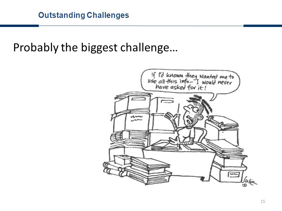15 Outstanding Challenges Probably the biggest challenge…