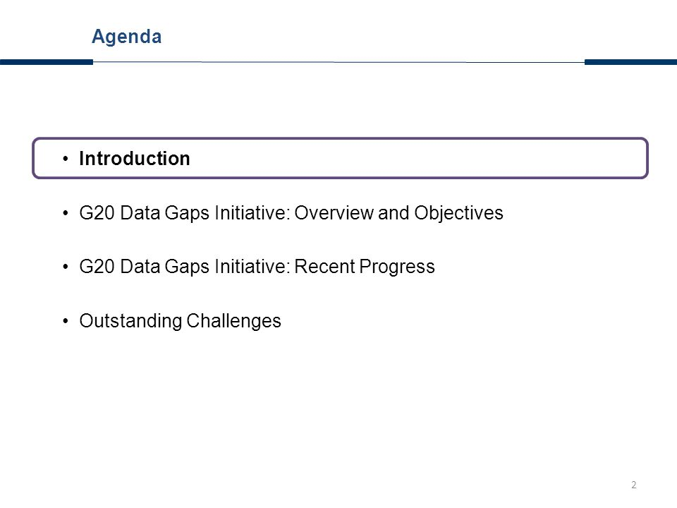 2 Introduction G20 Data Gaps Initiative: Overview and Objectives G20 Data Gaps Initiative: Recent Progress Outstanding Challenges Agenda