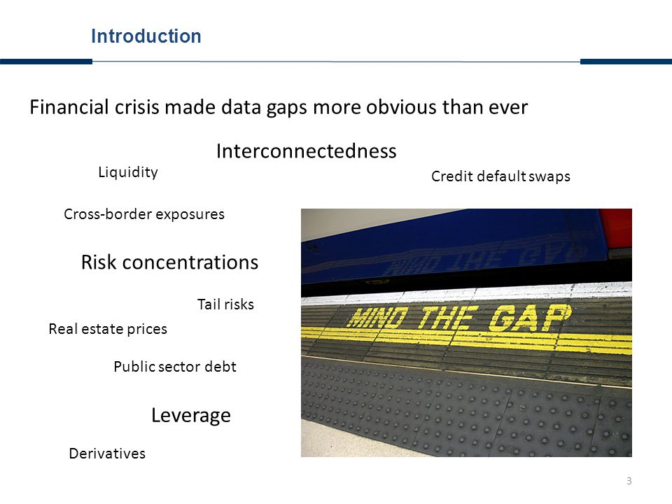 3 Introduction Financial crisis made data gaps more obvious than ever Cross-border exposures Interconnectedness Risk concentrations Tail risks Derivatives Credit default swaps Leverage Real estate prices Public sector debt Liquidity
