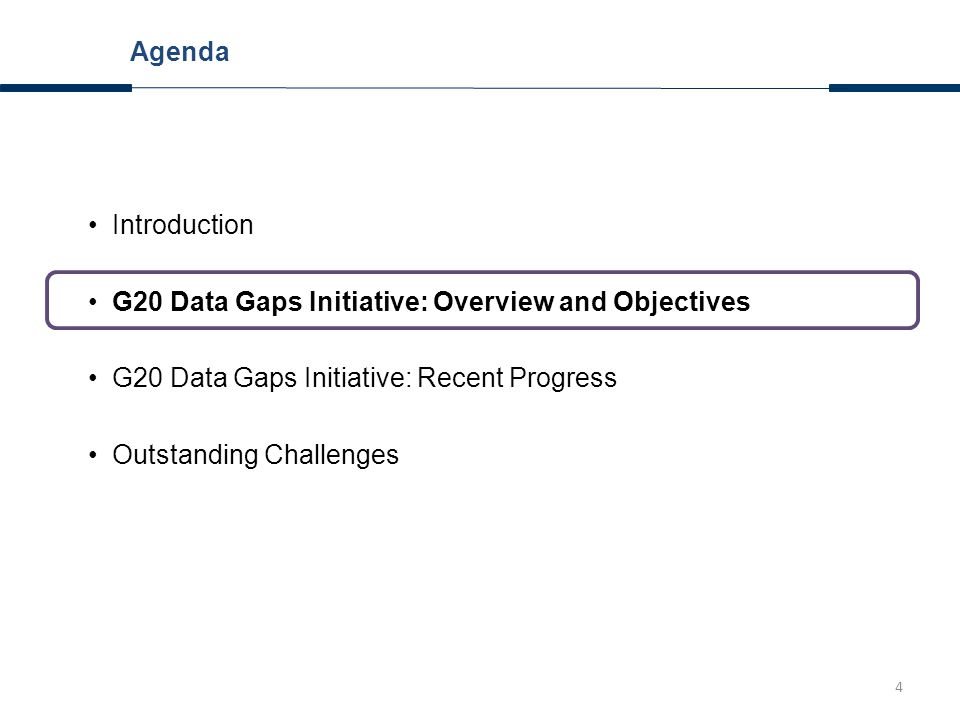 5 G20 Data Gaps Initiative: Overview April 2009: G20 Finance Ministers and Central Bank Governors call FSB and IMF to explore gaps and provide proposals for strengthening data collection October 2009: FSB/IMF set up list of 20 recommendations, endorsed by G20 Finance Ministers and Central Bank Governors Annual progress reports by FSB and IMF (most recent: September 2013)