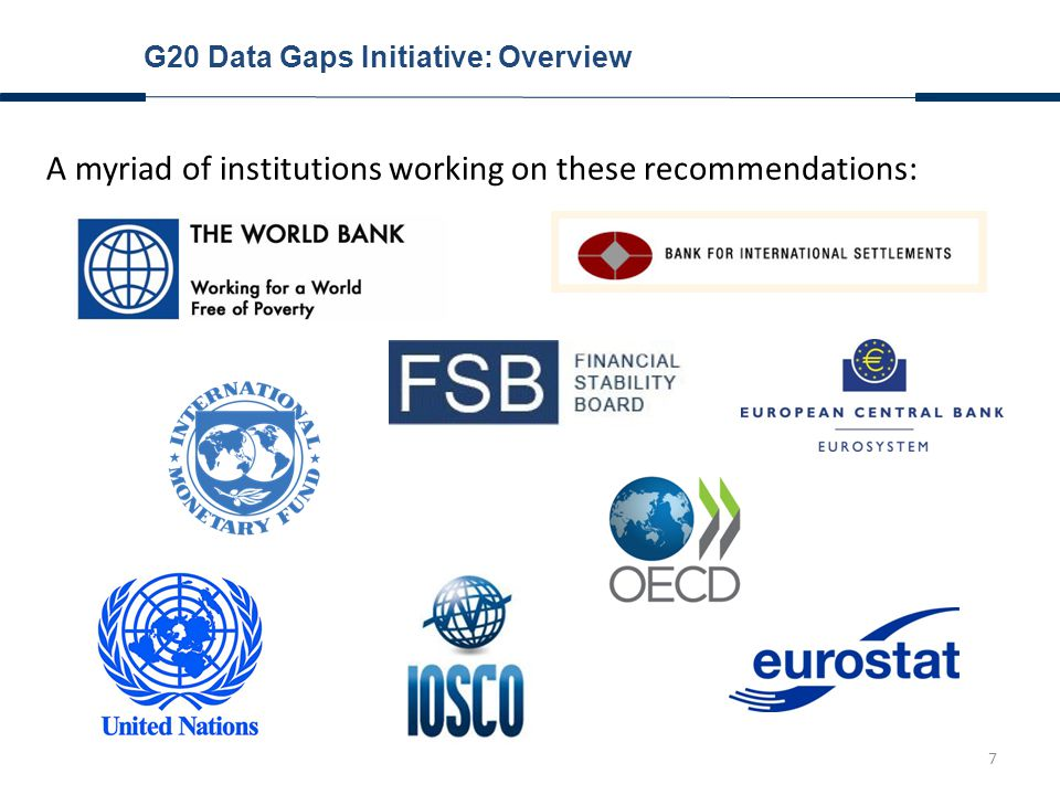 8 G20 Data Gaps Initiative: Objectives Agenda with regard to insurance statistics: Recommendation #2: Expand list of FSIs, incl.