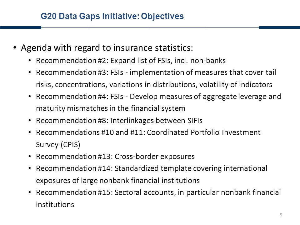 9 Introduction G20 Data Gaps Initiative: Overview and Objectives G20 Data Gaps Initiative: Recent Progress Outstanding Challenges Agenda