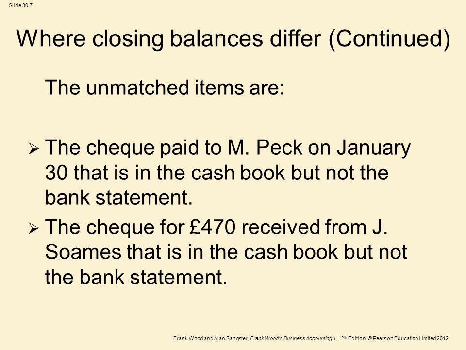 Frank Wood and Alan Sangster, Frank Woods Business Accounting 1, 12 th Edition, © Pearson Education Limited 2012 Slide 30.8 Where closing balances differ (Continued)