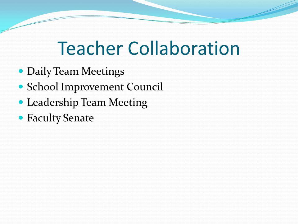 Teacher Collaboration Daily Team Meetings School Improvement Council Leadership Team Meeting Faculty Senate