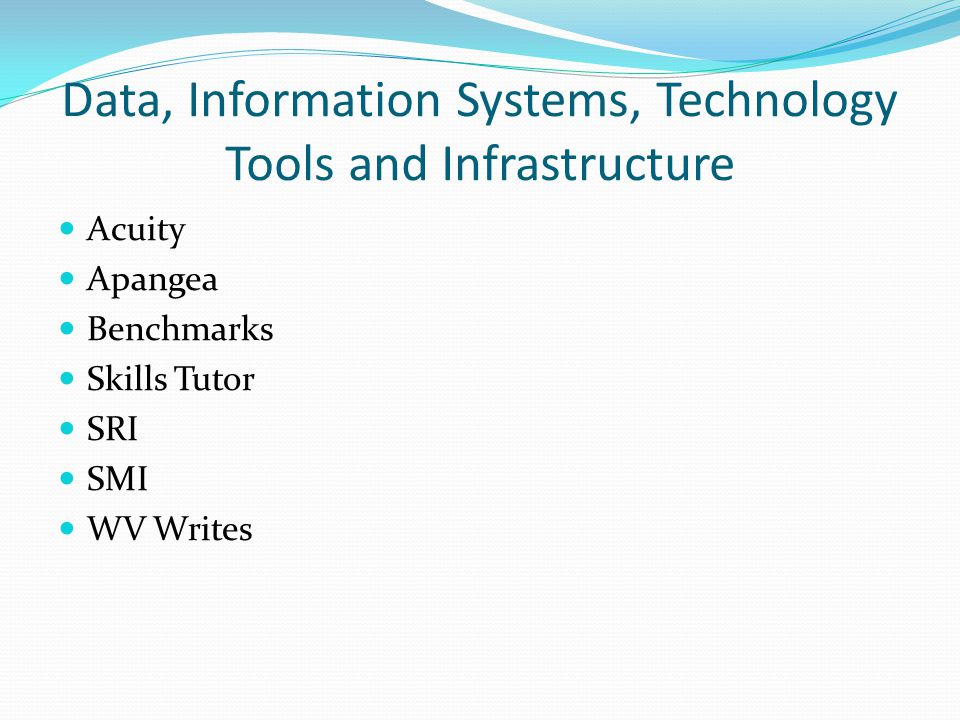 Data, Information Systems, Technology Tools and Infrastructure Acuity Apangea Benchmarks Skills Tutor SRI SMI WV Writes