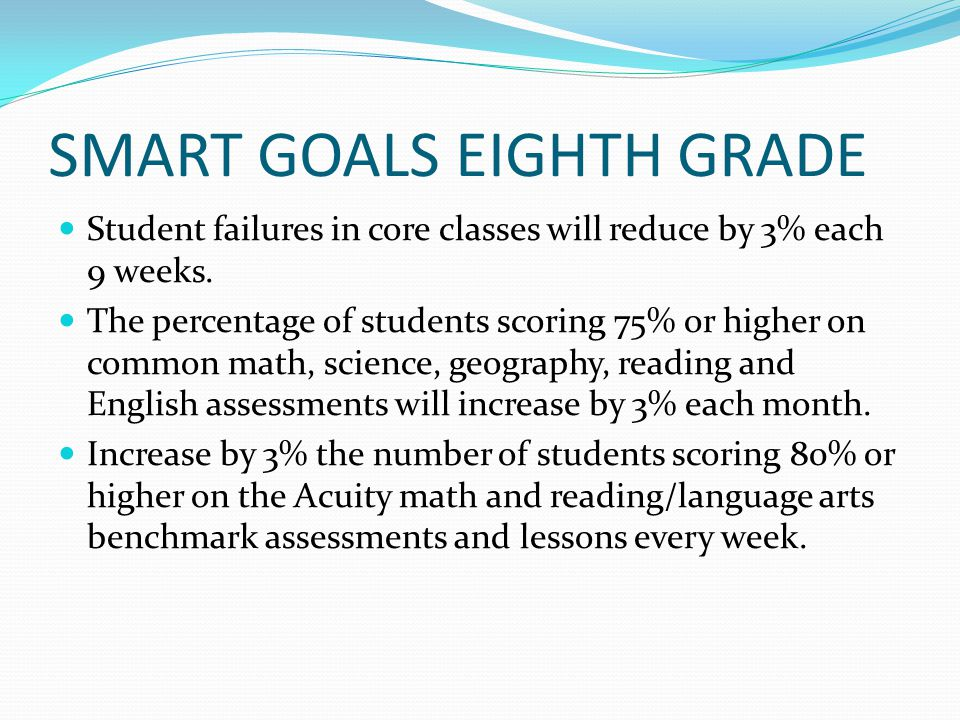 SMART GOALS EIGHTH GRADE Student failures in core classes will reduce by 3% each 9 weeks.