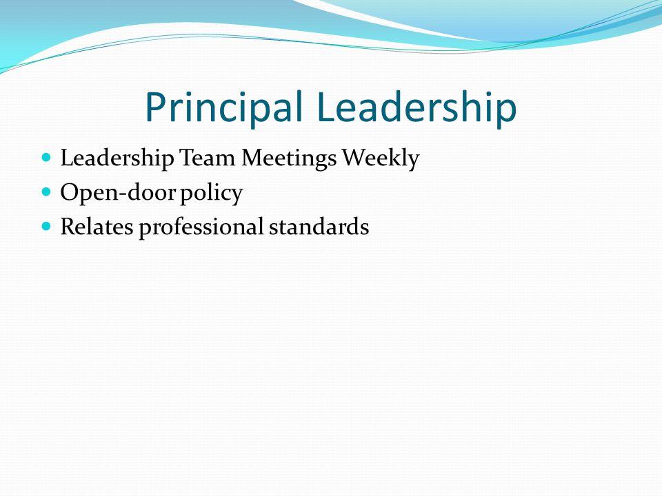 Principal Leadership Leadership Team Meetings Weekly Open-door policy Relates professional standards