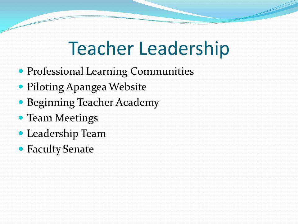 Teacher Leadership Professional Learning Communities Piloting Apangea Website Beginning Teacher Academy Team Meetings Leadership Team Faculty Senate