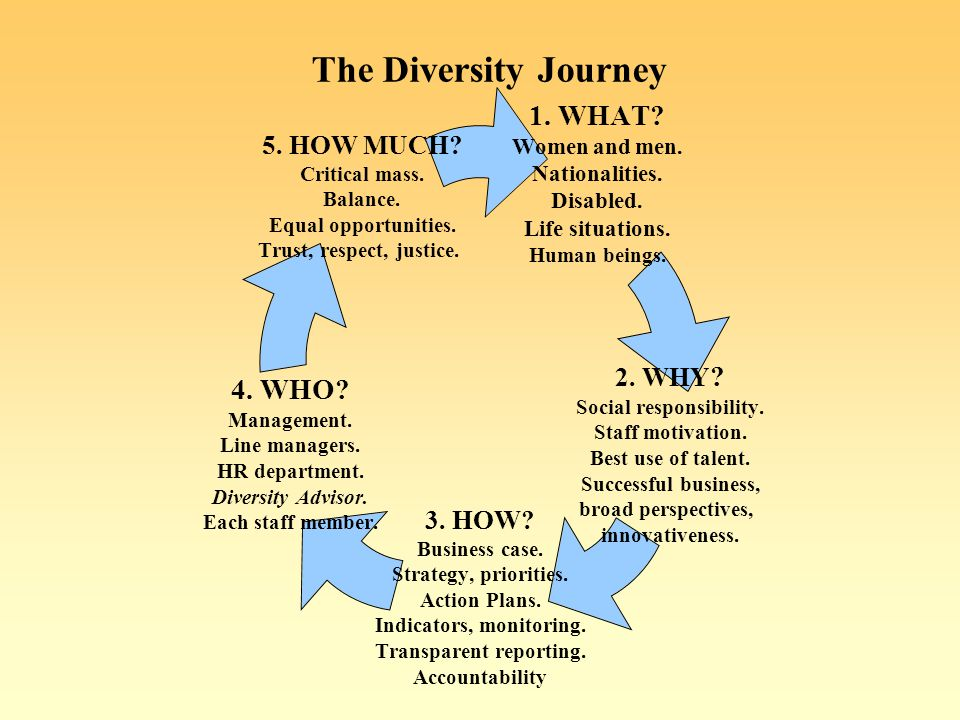 The Diversity Journey 1. WHAT. Women and men. Nationalities.
