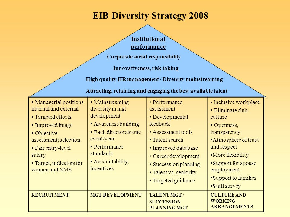 EIB Diversity Strategy 2008 Managerial positions internal and external Targeted efforts Improved image Objective assessment; selection Fair entry-level salary Target, indicators for women and NMS Mainstreaming diversity in mgt development Awareness building Each directorate one event/year Performance standards Accountability, incentives Performance assessment Developmental feedback Assessment tools Talent search Improved data base Career development Succession planning Talent vs.