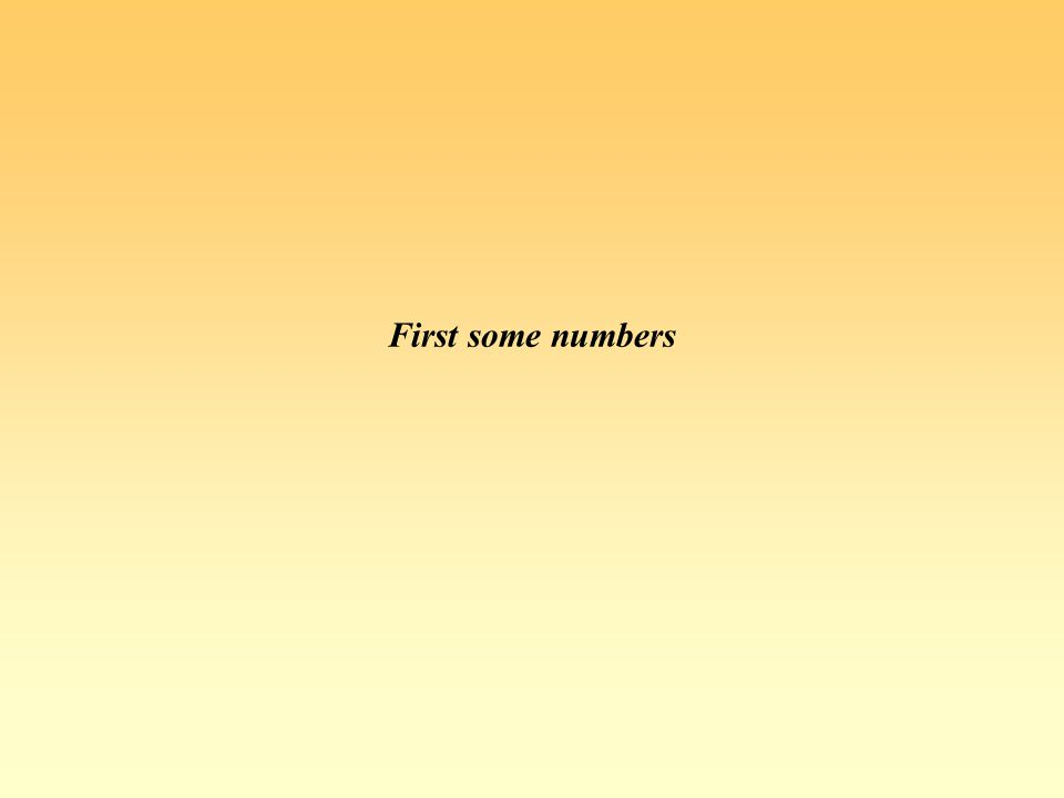 First some numbers