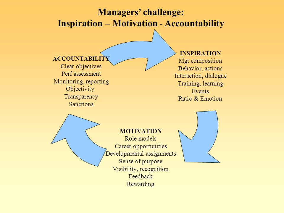 Managers challenge: Inspiration – Motivation - Accountability INSPIRATION Mgt composition Behavior, actions Interaction, dialogue Training, learning Events Ratio & Emotion MOTIVATION Role models Career opportunities Developmental assignments Sense of purpose Visibility, recognition Feedback Rewarding ACCOUNTABILITY Clear objectives Perf assessment Monitoring, reporting Objectivity Transparency Sanctions
