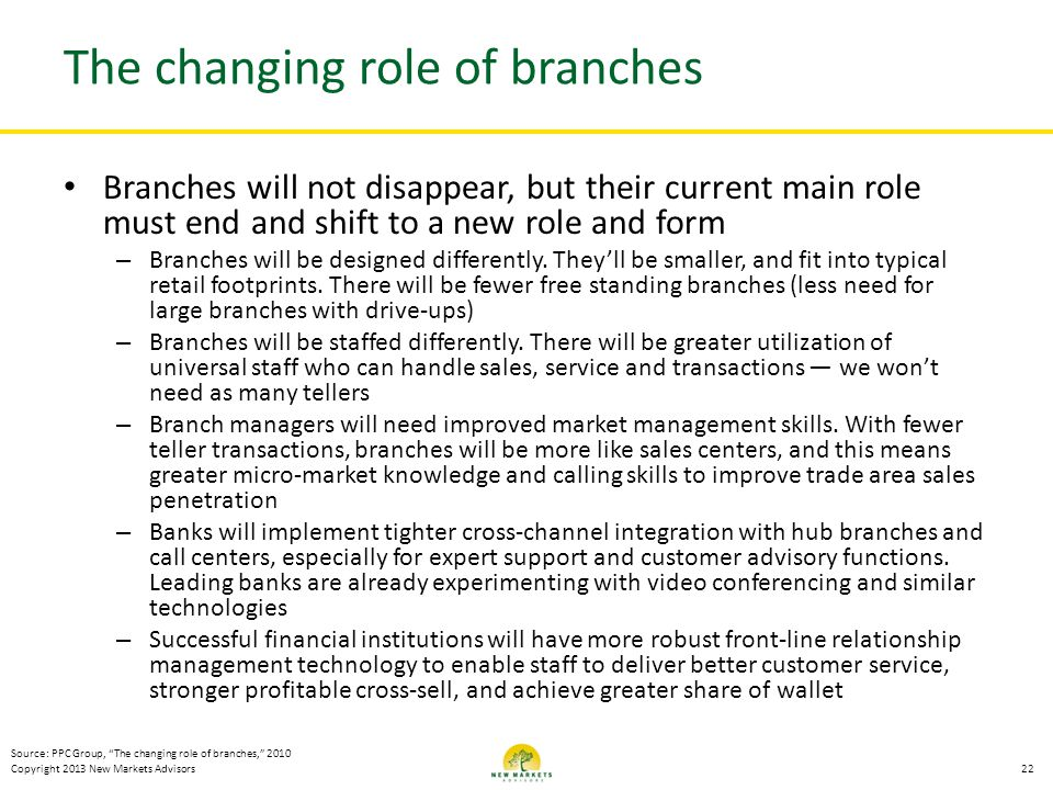 Copyright 2013 New Markets Advisors The changing role of branches Branches will not disappear, but their current main role must end and shift to a new