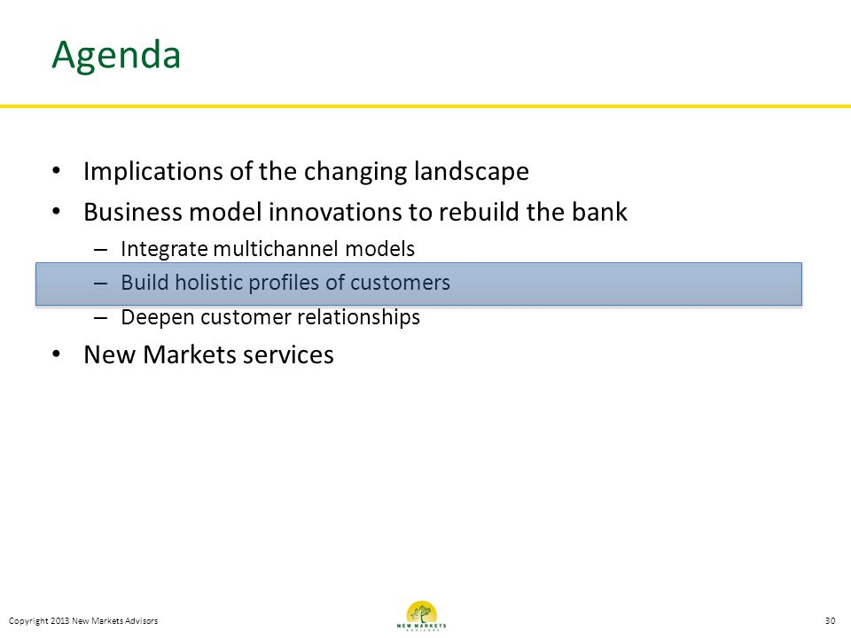 Copyright 2013 New Markets Advisors Agenda Implications of the changing landscape Business model innovations to rebuild the bank – Integrate multichan