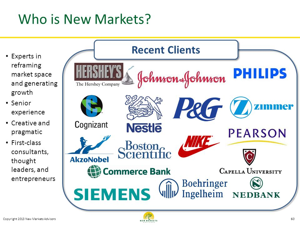 Copyright 2013 New Markets Advisors Who is New Markets? Experts in reframing market space and generating growth Senior experience Creative and pragmat