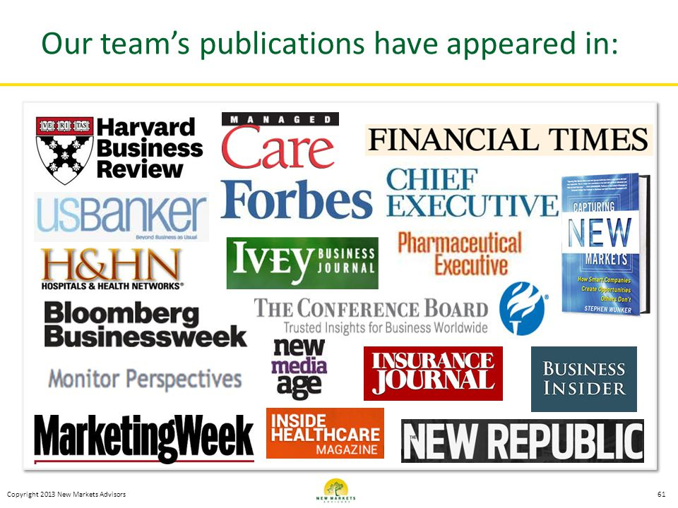 Copyright 2013 New Markets Advisors Our teams publications have appeared in: 61