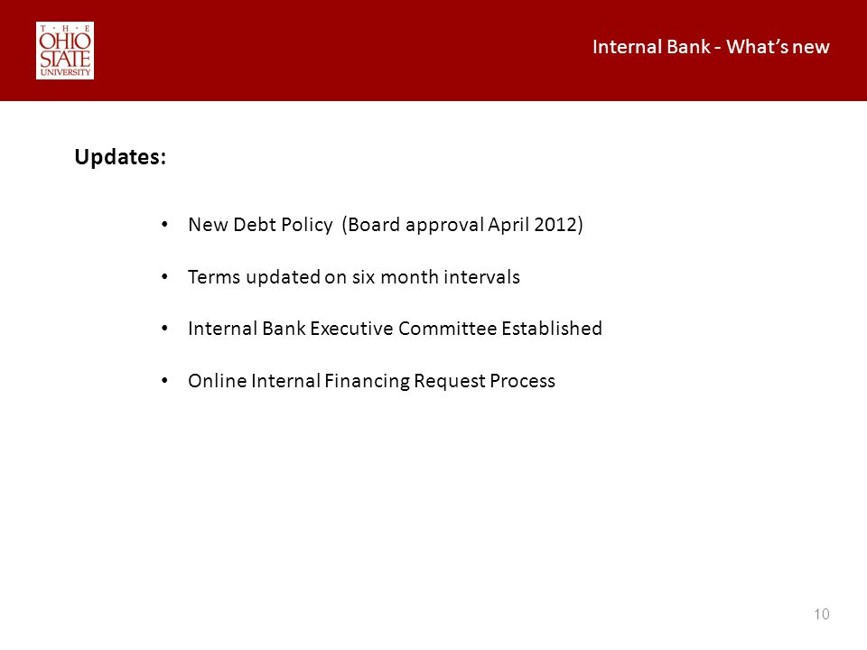 Internal Bank - Whats new 10 Updates: New Debt Policy (Board approval April 2012) Terms updated on six month intervals Internal Bank Executive Committee Established Online Internal Financing Request Process