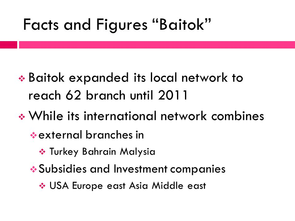 Baitok expanded its local network to reach 62 branch until 2011 While its international network combines external branches in Turkey Bahrain Malysia S