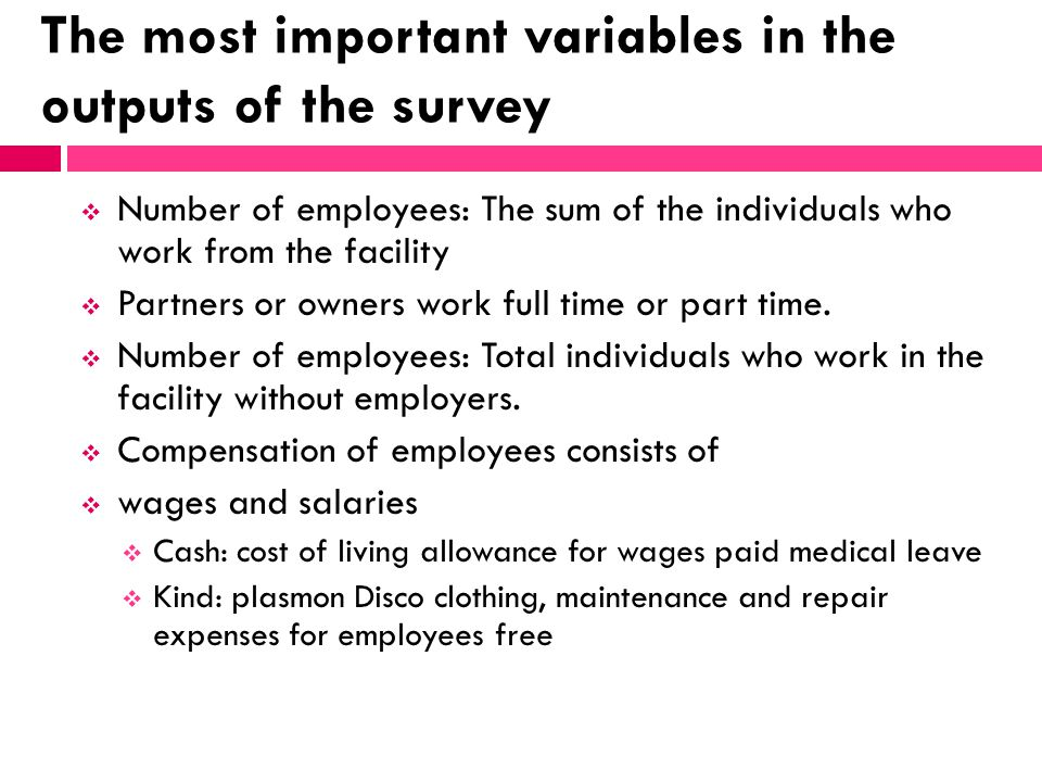 The most important variables in the outputs of the survey Number of employees: The sum of the individuals who work from the facility Partners or owner