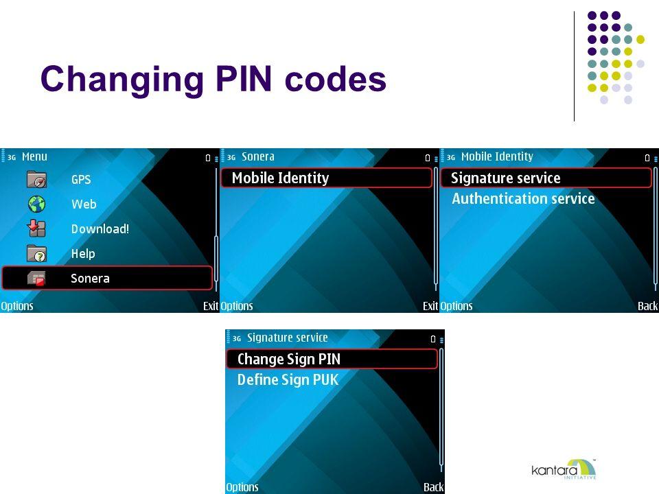 Changing PIN codes