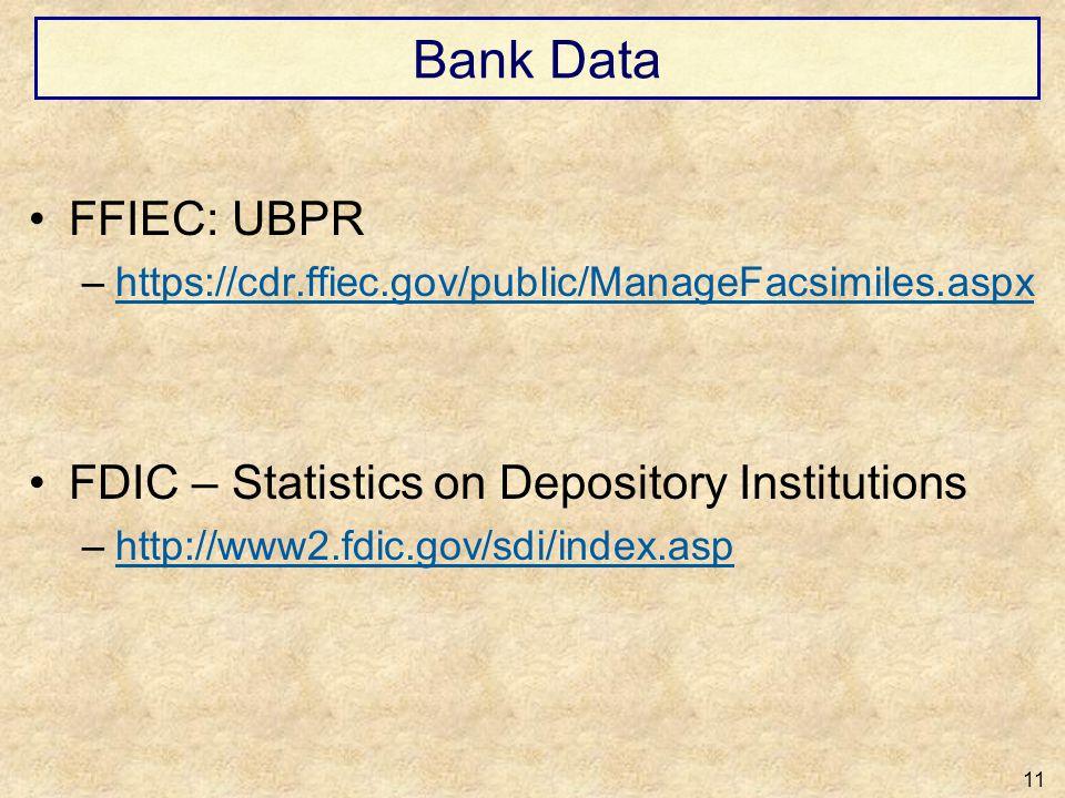 Bank Data FFIEC: UBPR –https://cdr.ffiec.gov/public/ManageFacsimiles.aspxhttps://cdr.ffiec.gov/public/ManageFacsimiles.aspx FDIC – Statistics on Depos