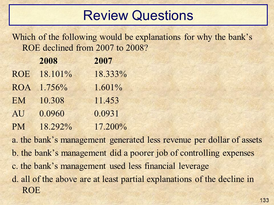 Review Questions Which of the following would be explanations for why the banks ROE declined from 2007 to 2008? 20082007 ROE18.101%18.333% ROA1.756%1.