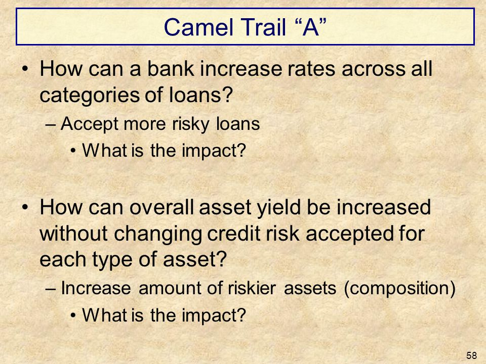 Camel Trail A How can a bank increase rates across all categories of loans? –Accept more risky loans What is the impact? How can overall asset yield b