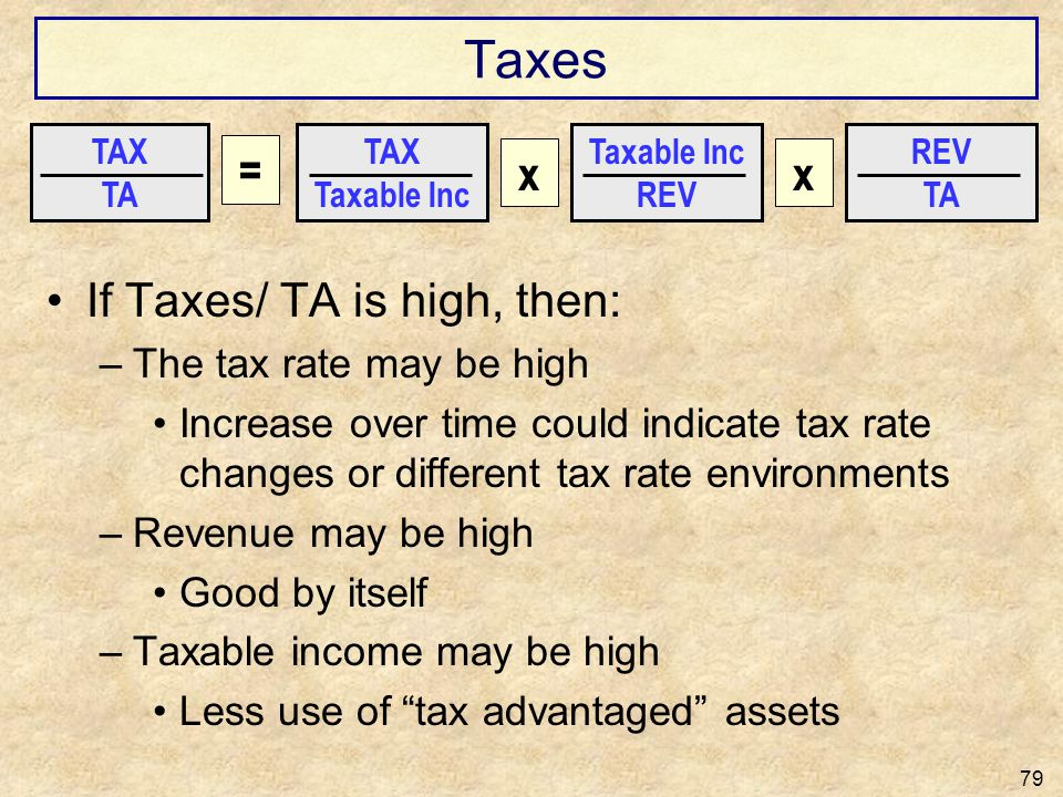 Taxes If Taxes/ TA is high, then: –The tax rate may be high Increase over time could indicate tax rate changes or different tax rate environments –Rev