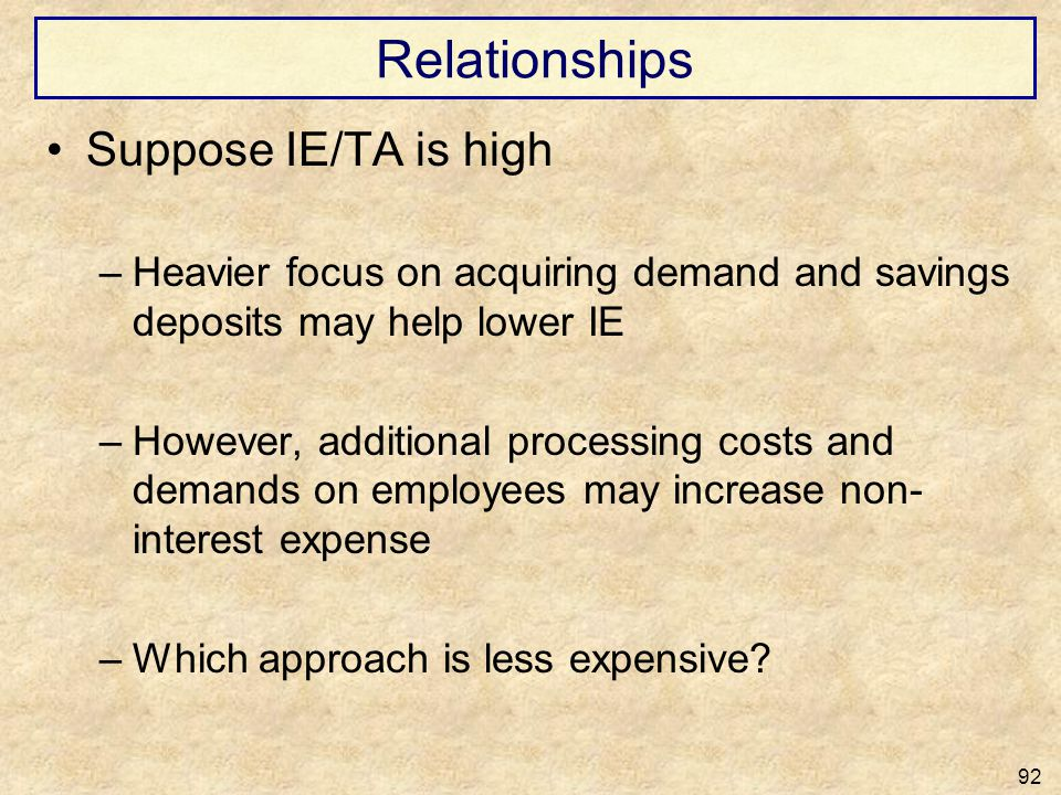 Relationships Suppose IE/TA is high –Heavier focus on acquiring demand and savings deposits may help lower IE –However, additional processing costs an