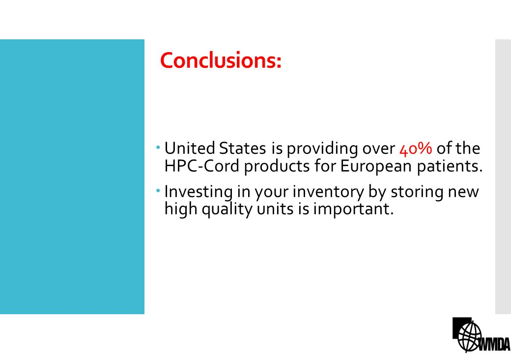 Conclusions: United States is providing over 40% of the HPC-Cord products for European patients.