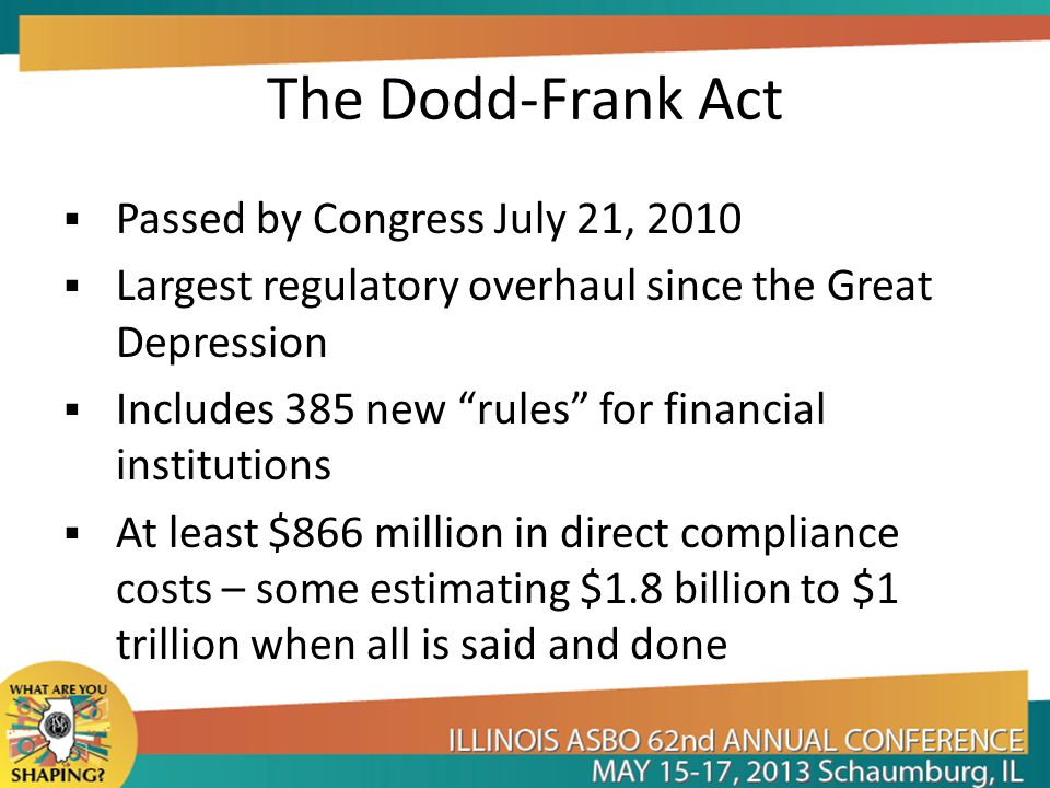 Bank Impact – Dodd-Frank Compliance with regulations will require: Over 2 million employee hours every year Implementation of new testing & reporting systems Changes the way in which banks historically have covered costs FDIC assessments are going to remain elevated