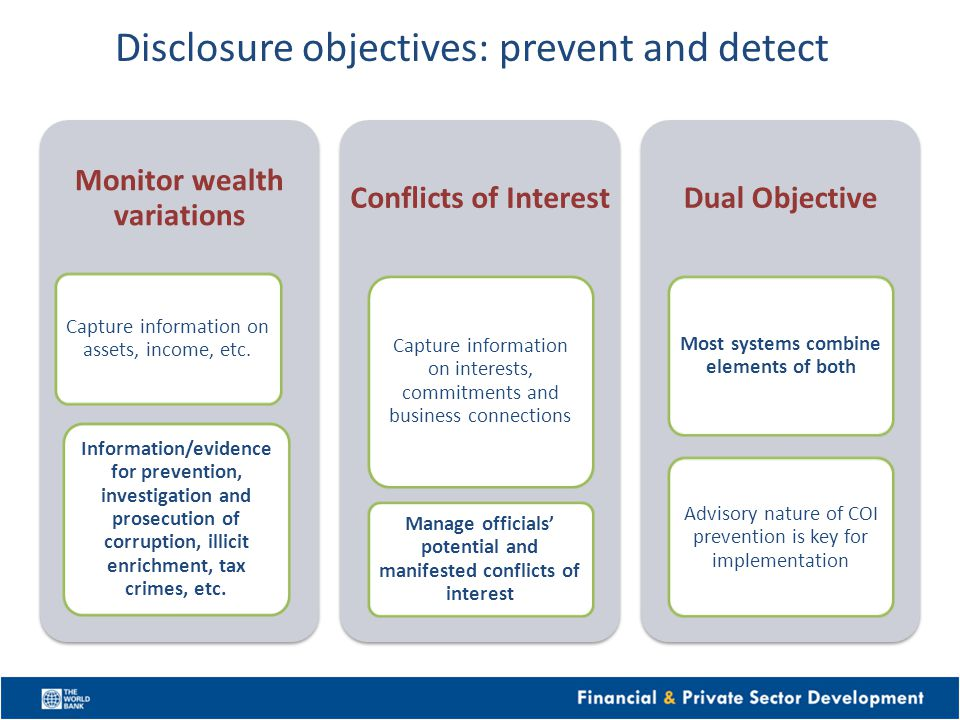 Disclosure objectives: prevent and detect Monitor wealth variations Capture information on assets, income, etc. Information/evidence for prevention, i