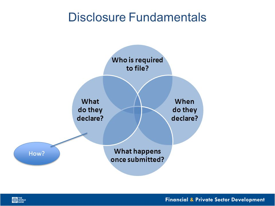 Disclosure Fundamentals Who is required to file? When do they declare? What happens once submitted? What do they declare? How?
