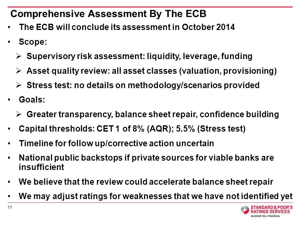 The ECB will conclude its assessment in October 2014 Scope: Supervisory risk assessment: liquidity, leverage, funding Asset quality review: all asset classes (valuation, provisioning) Stress test: no details on methodology/scenarios provided Goals: Greater transparency, balance sheet repair, confidence building Capital thresholds: CET 1 of 8% (AQR); 5.5% (Stress test) Timeline for follow up/corrective action uncertain National public backstops if private sources for viable banks are insufficient We believe that the review could accelerate balance sheet repair We may adjust ratings for weaknesses that we have not identified yet 11 Comprehensive Assessment By The ECB