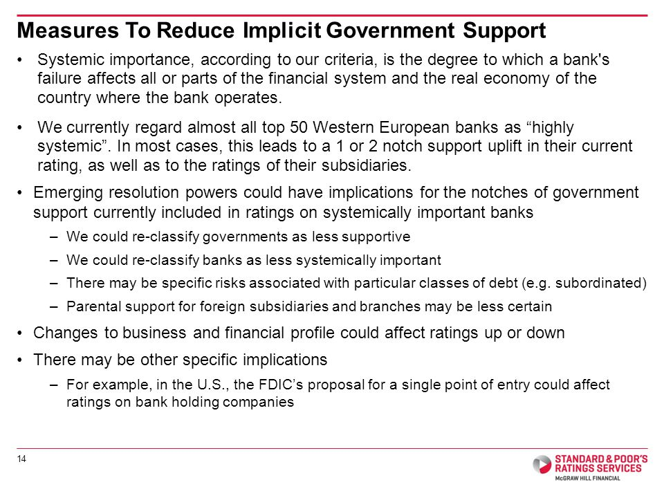 Systemic importance, according to our criteria, is the degree to which a bank s failure affects all or parts of the financial system and the real economy of the country where the bank operates.