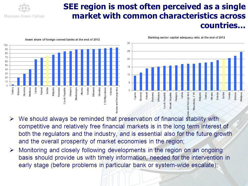 2 SEE region is most often perceived as a single market with common characteristics across countries… We should always be reminded that preservation of financial stability with competitive and relatively free financial markets is in the long term interest of both the regulators and the industry, and is essential also for the future growth and the overall prosperity of market economies in the region; Monitoring and closely following developments in the region on an ongoing basis should provide us with timely information, needed for the intervention in early stage (before problems in particular bank or system-wide escalate);
