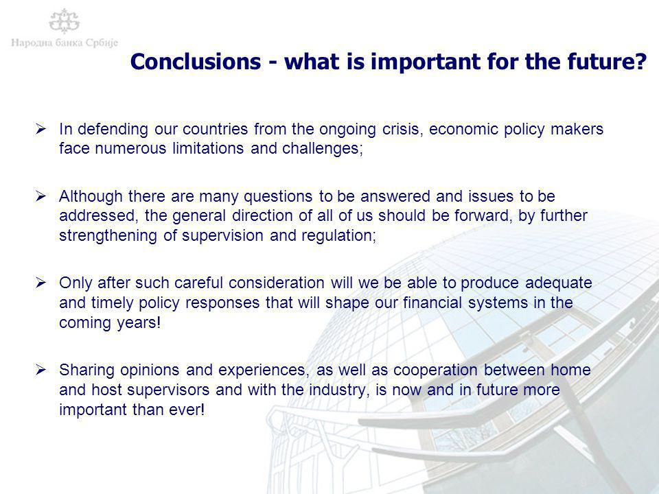9 Conclusions - what is important for the future.
