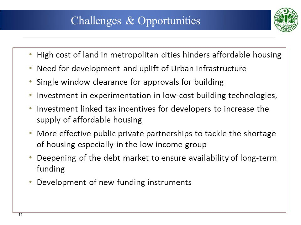 High cost of land in metropolitan cities hinders affordable housing Need for development and uplift of Urban infrastructure Single window clearance fo