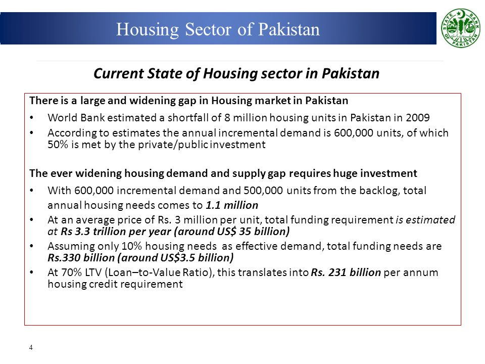 There is a large and widening gap in Housing market in Pakistan World Bank estimated a shortfall of 8 million housing units in Pakistan in 2009 Accord