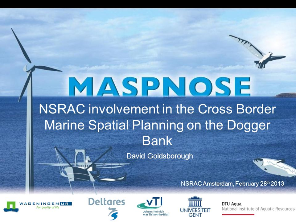 NSRAC involvement in the Cross Border Marine Spatial Planning on the Dogger Bank David Goldsborough NSRAC Amsterdam, February 28 th 2013