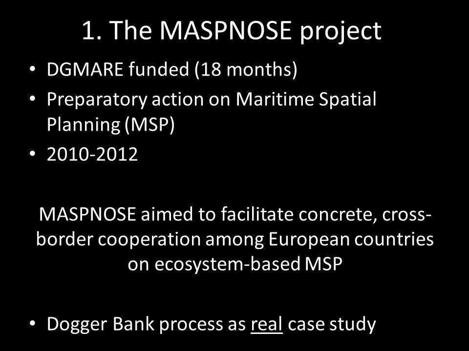 Two case studies in MASPNOSE Dogger Bank Thornton Bank