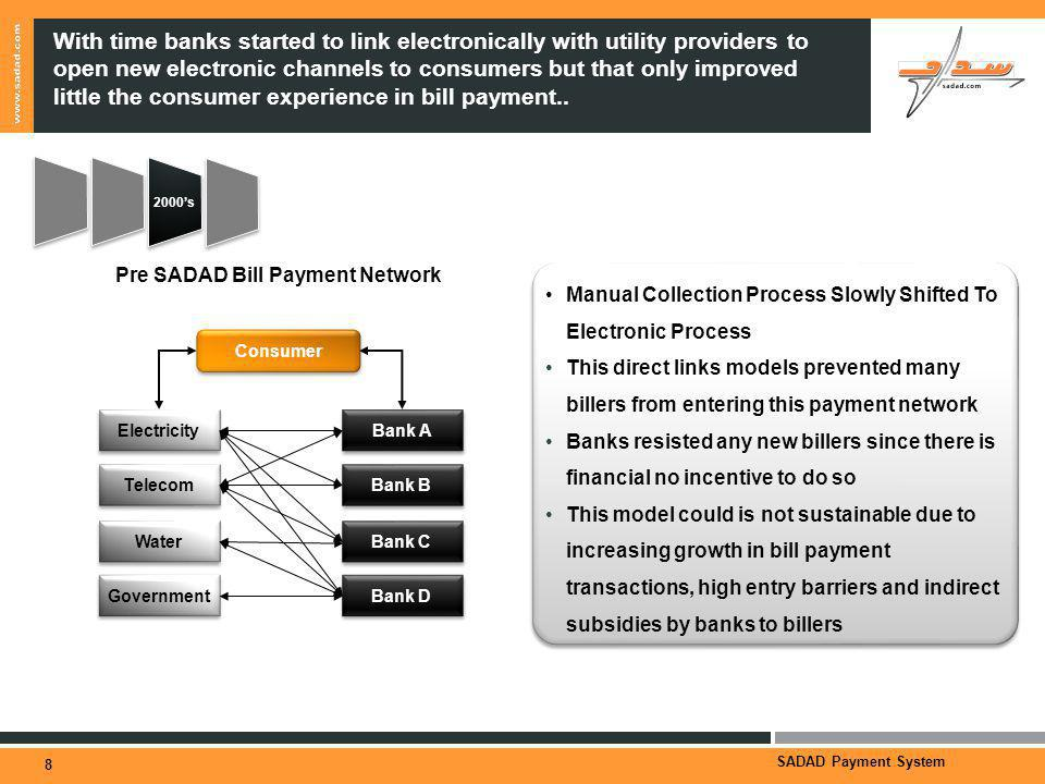 SADAD Payment System With time banks started to link electronically with utility providers to open new electronic channels to consumers but that only improved little the consumer experience in bill payment..