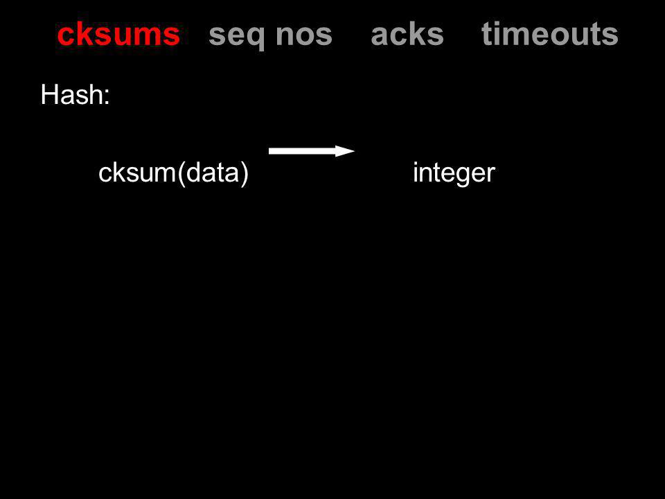 Hash: cksum(data) integer